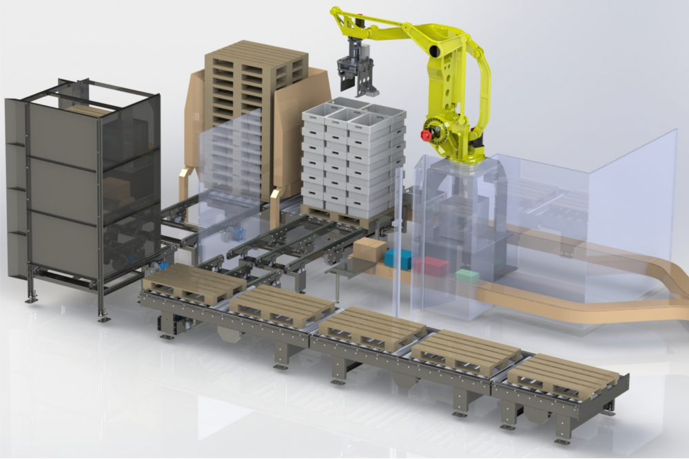 3d model of a robotic palletising machine